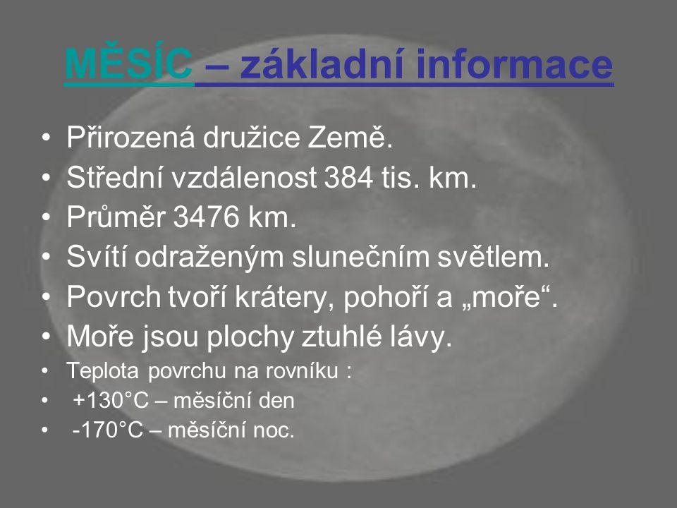 MĚSÍC – základní informace