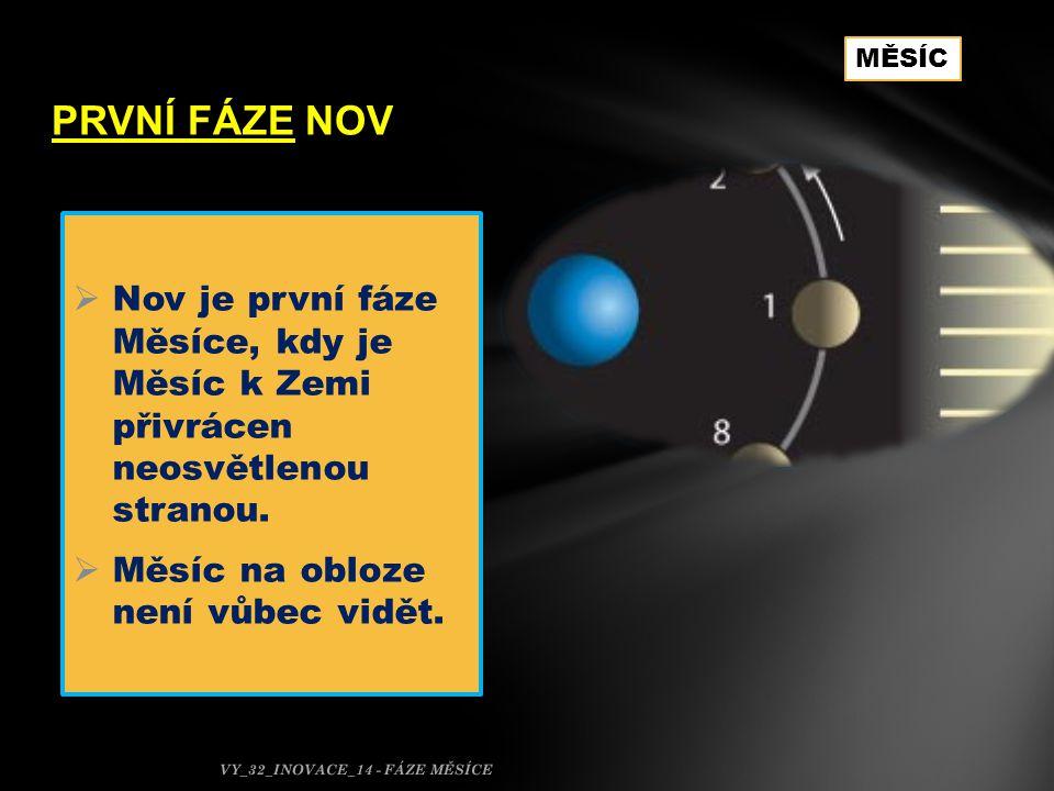 PRVNÍ FÁZE NOV MĚSÍC. Nov je první fáze Měsíce, kdy je Měsíc k Zemi přivrácen neosvětlenou stranou.