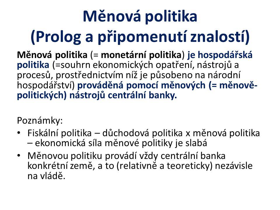 Měnová politika (Prolog a připomenutí znalostí)