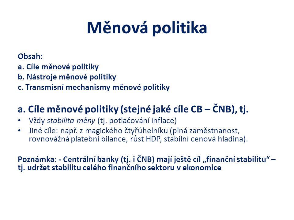 Měnová politika Obsah: a. Cíle měnové politiky. b. Nástroje měnové politiky. c. Transmisní mechanismy měnové politiky.