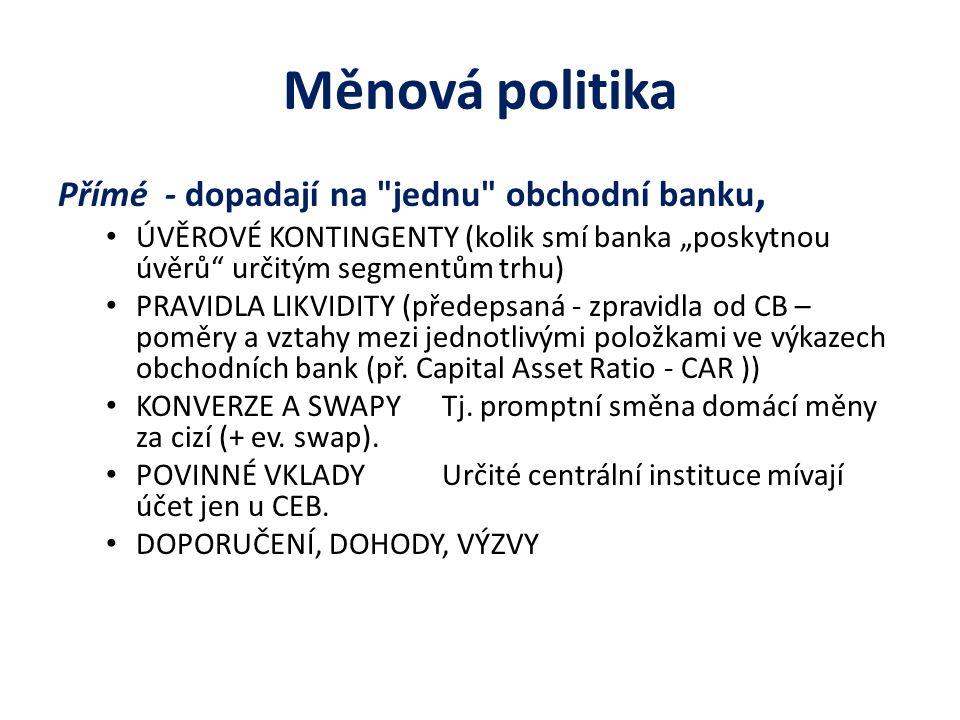 Měnová politika Přímé - dopadají na jednu obchodní banku,