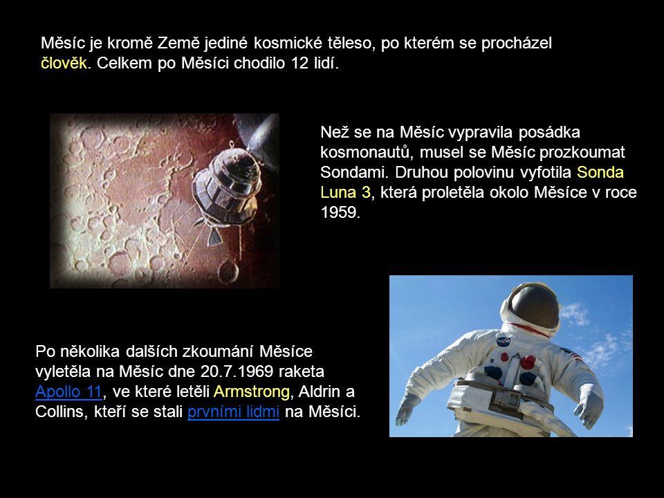 Měsíc je kromě Země jediné kosmické těleso, po kterém se procházel člověk. Celkem po Měsíci chodilo 12 lidí.