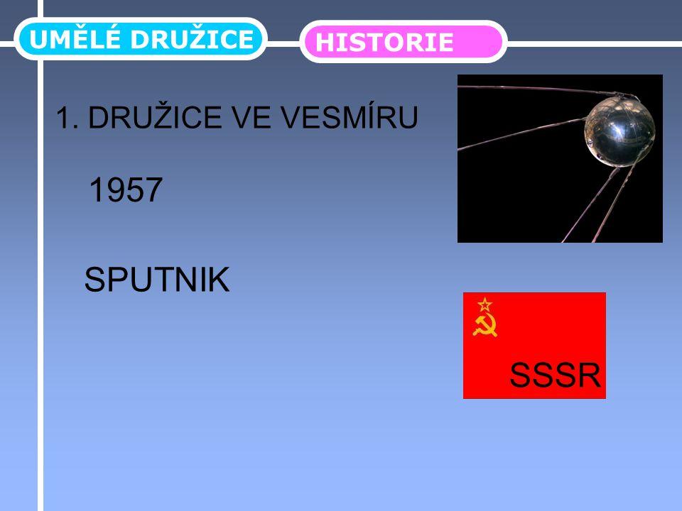 UMĚLÉ DRUŽICE HISTORIE 1. DRUŽICE VE VESMÍRU 1957 SPUTNIK SSSR
