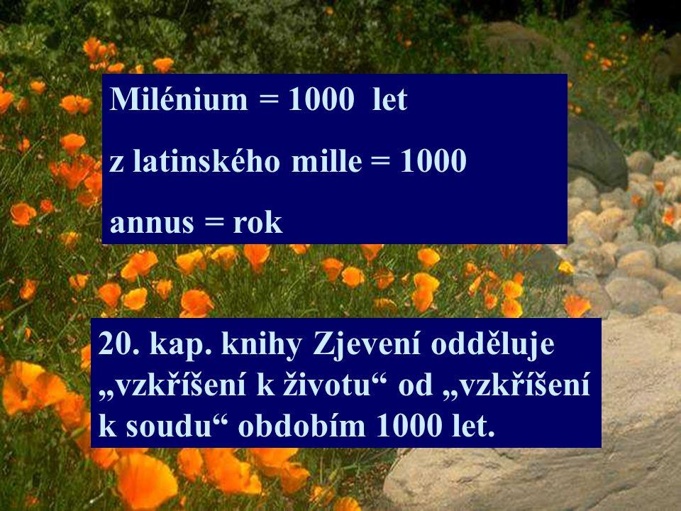 Milénium = 1000 let z latinského mille = 1000. annus = rok.