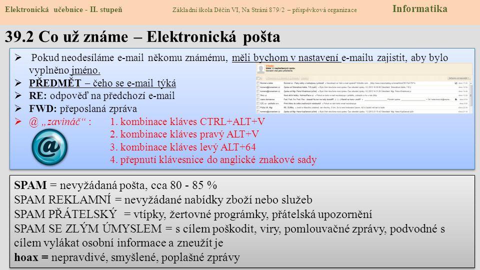 39.2 Co už známe – Elektronická pošta