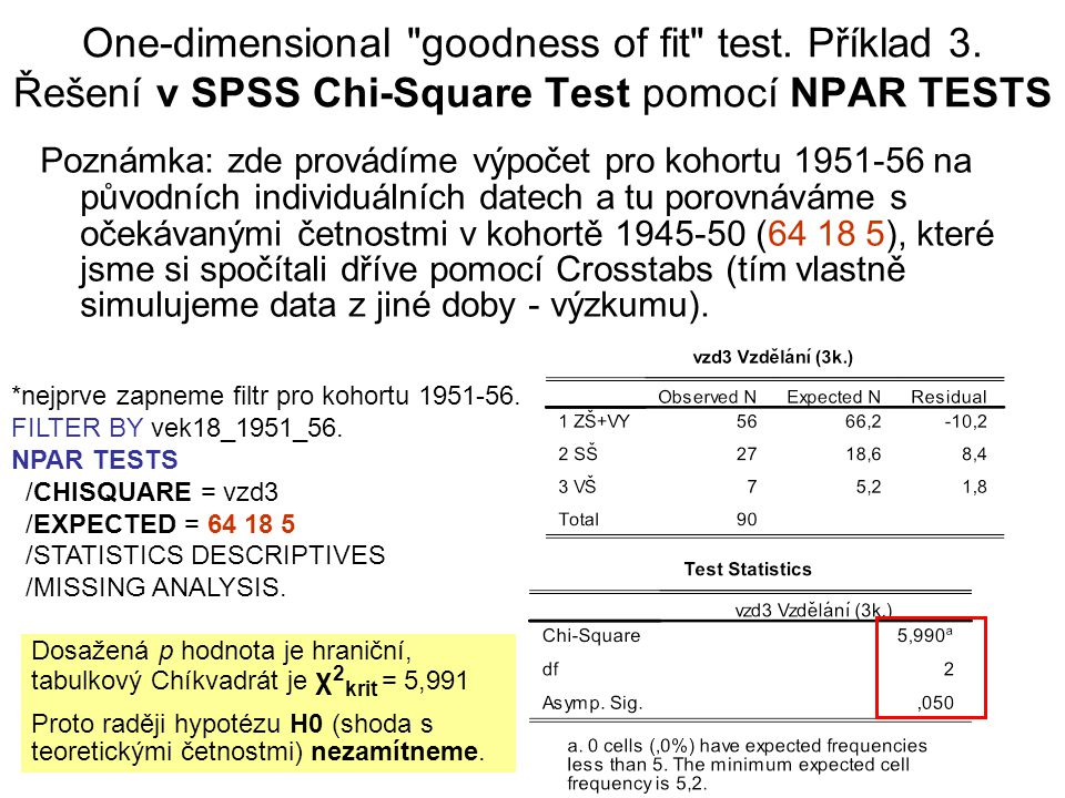 One-dimensional goodness of fit test. Příklad 3