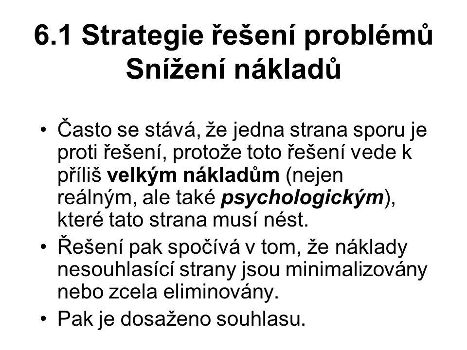 6.1 Strategie řešení problémů Snížení nákladů