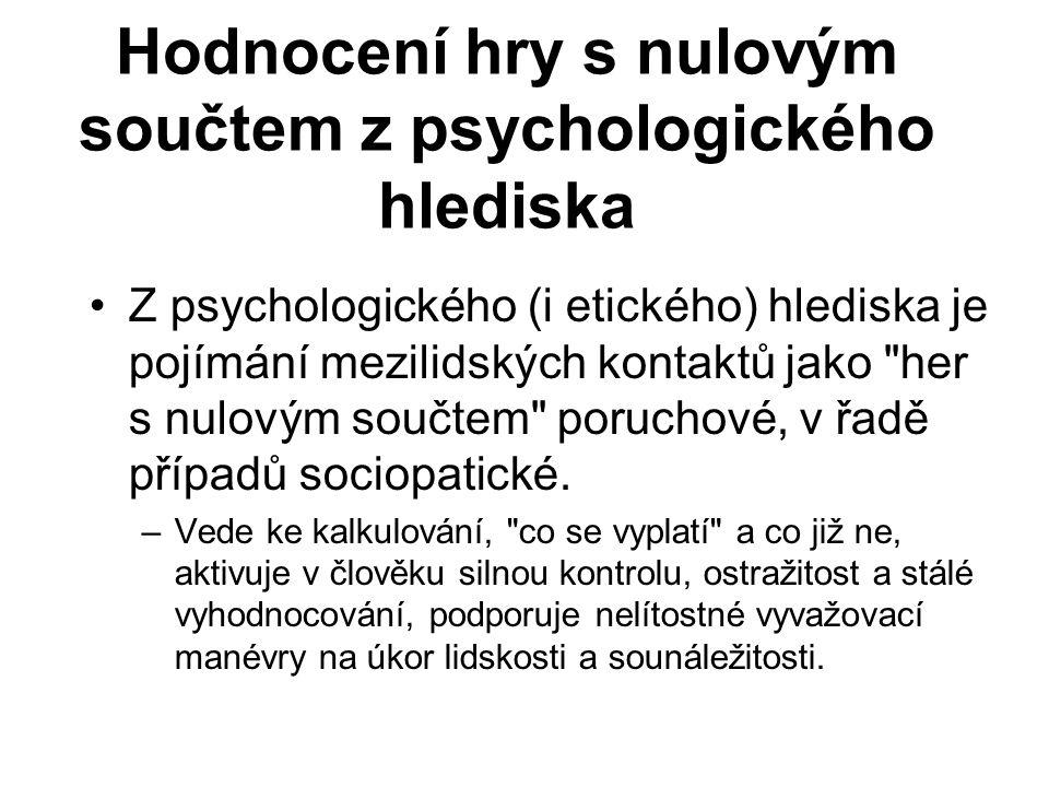 Hodnocení hry s nulovým součtem z psychologického hlediska