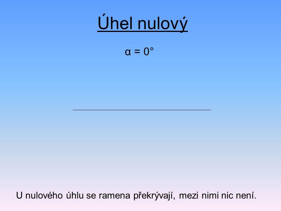 Úhel nulový α = 0° U nulového úhlu se ramena překrývají, mezi nimi nic není.
