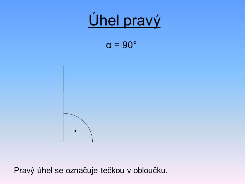 Úhel pravý α = 90° Pravý úhel se označuje tečkou v obloučku.