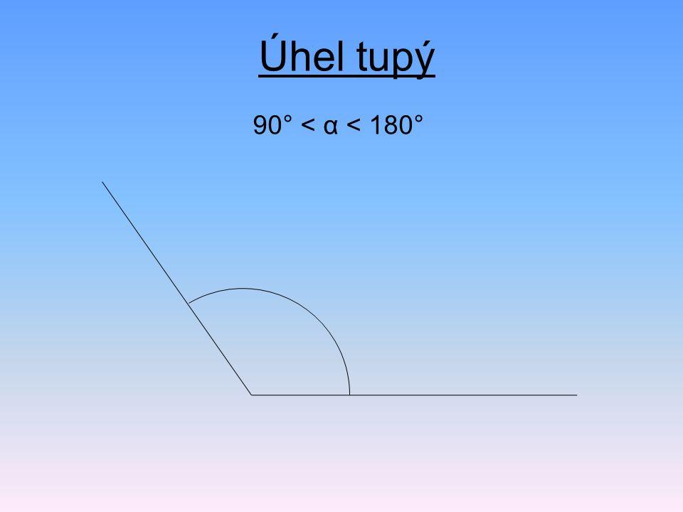 Úhel tupý 90° < α < 180°