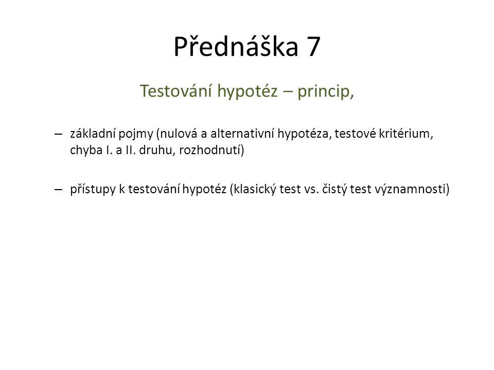Testování hypotéz – princip,