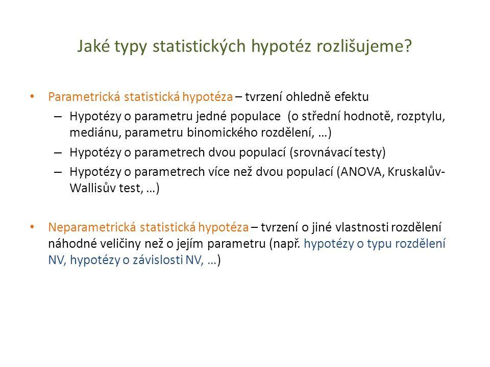 Jaké typy statistických hypotéz rozlišujeme