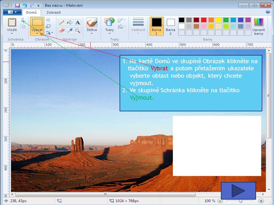 1. Na kartě Domů ve skupině Obrázek klikněte na tlačítko Vybrat a potom přetažením ukazatele vyberte oblast nebo objekt, který chcete vyjmout.