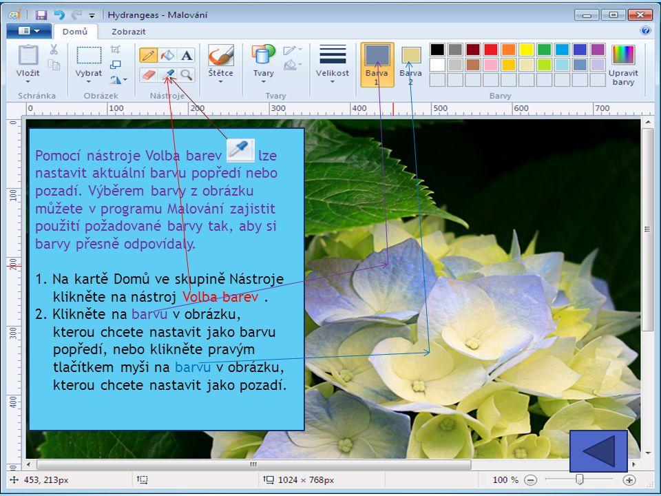 Pomocí nástroje Volba barev lze nastavit aktuální barvu popředí nebo pozadí. Výběrem barvy z obrázku můžete v programu Malování zajistit použití požadované barvy tak, aby si barvy přesně odpovídaly.