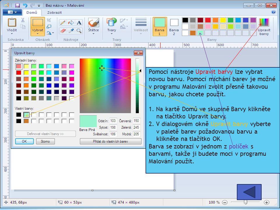 Pomocí nástroje Upravit barvy lze vybrat novou barvu