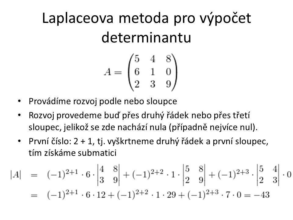 Laplaceova metoda pro výpočet determinantu