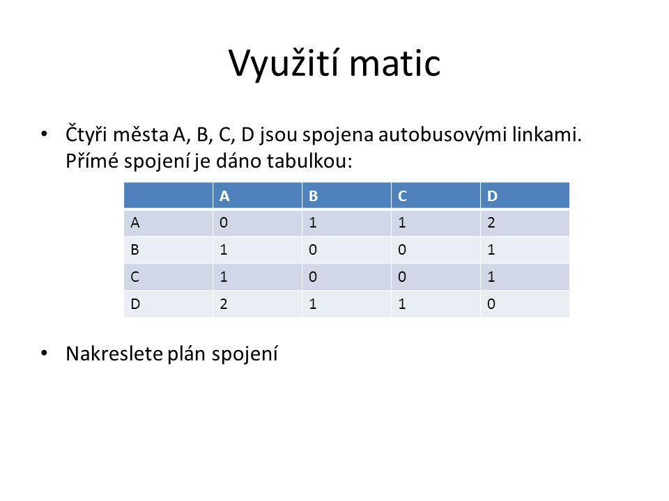 Využití matic Čtyři města A, B, C, D jsou spojena autobusovými linkami. Přímé spojení je dáno tabulkou: