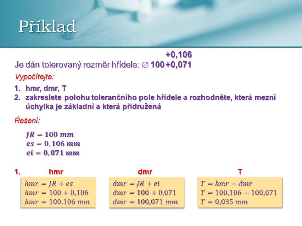 Příklad +0,106 Je dán tolerovaný rozměr hřídele:  100 +0,071