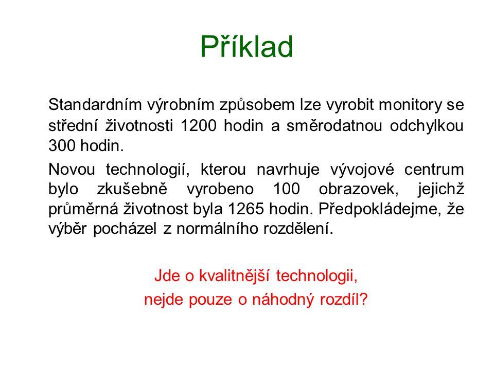 Příklad Standardním výrobním způsobem lze vyrobit monitory se střední životnosti 1200 hodin a směrodatnou odchylkou 300 hodin.