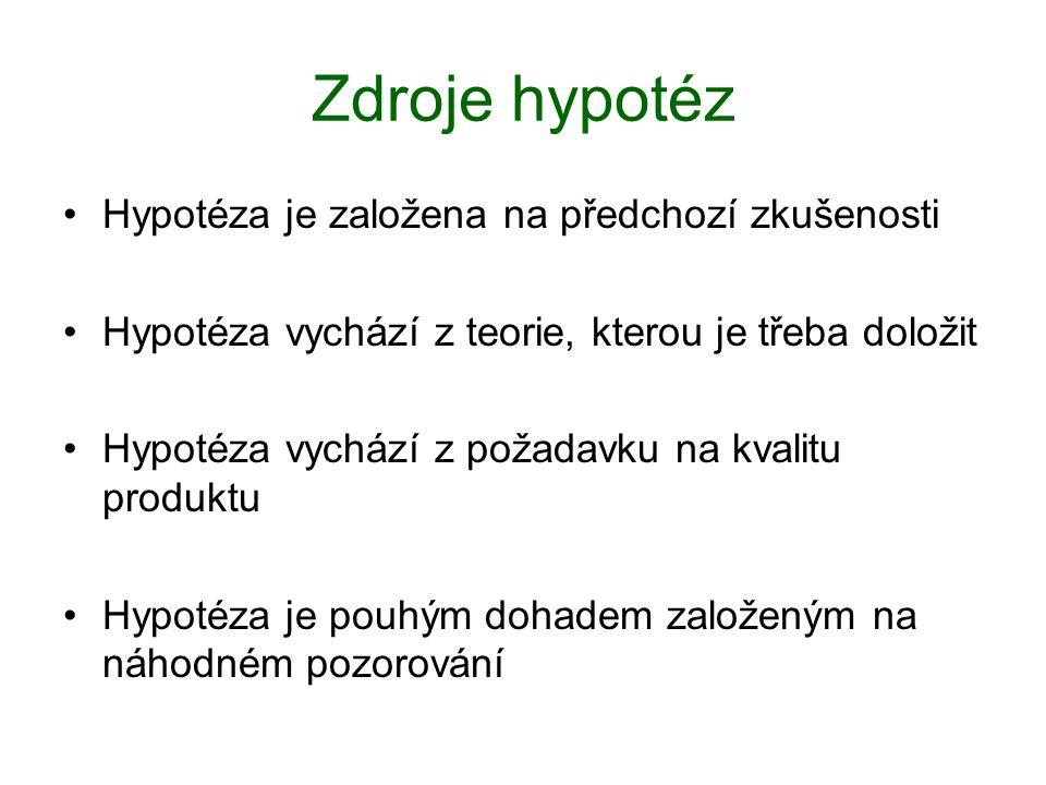 Zdroje hypotéz Hypotéza je založena na předchozí zkušenosti