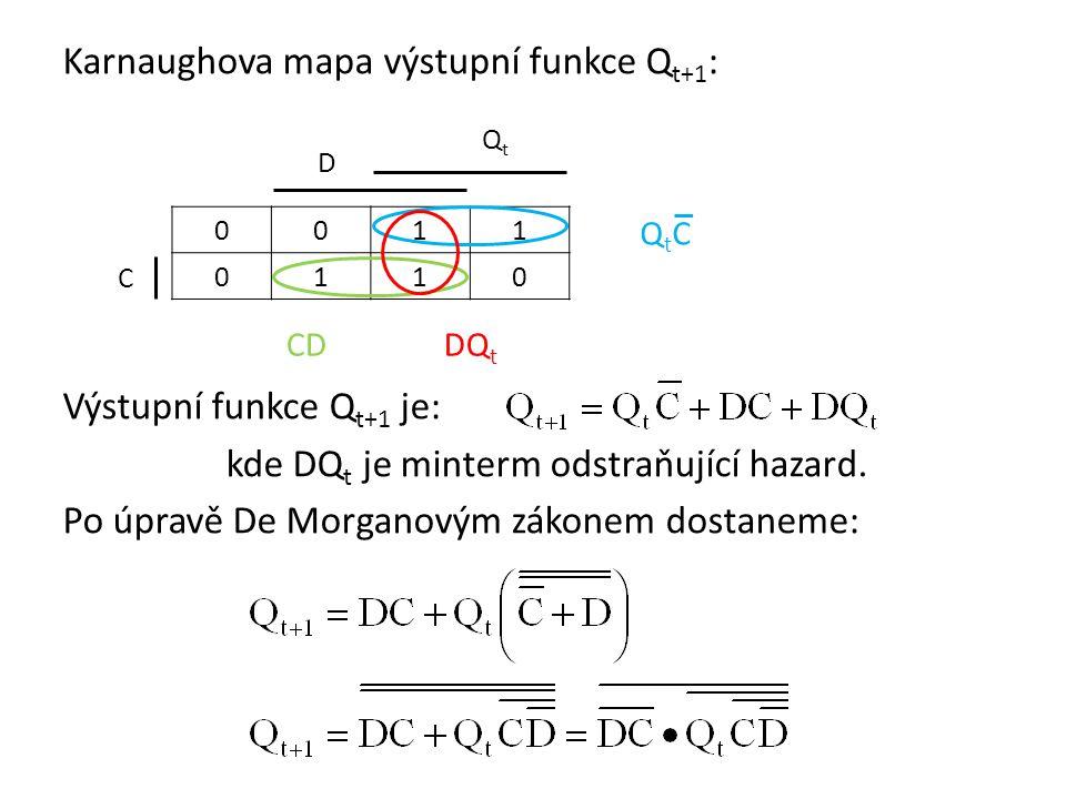 Karnaughova mapa výstupní funkce Qt+1: Výstupní funkce Qt+1 je: kde DQt je minterm odstraňující hazard. Po úpravě De Morganovým zákonem dostaneme: