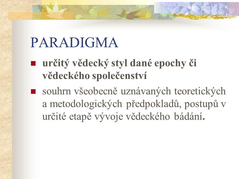 PARADIGMA určitý vědecký styl dané epochy či vědeckého společenství