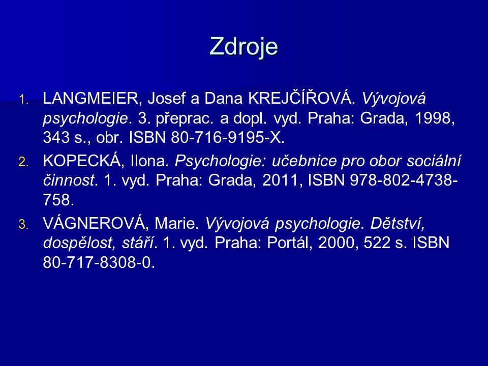 Zdroje LANGMEIER, Josef a Dana KREJČÍŘOVÁ. Vývojová psychologie. 3. přeprac. a dopl. vyd. Praha: Grada, 1998, 343 s., obr. ISBN 80-716-9195-X.