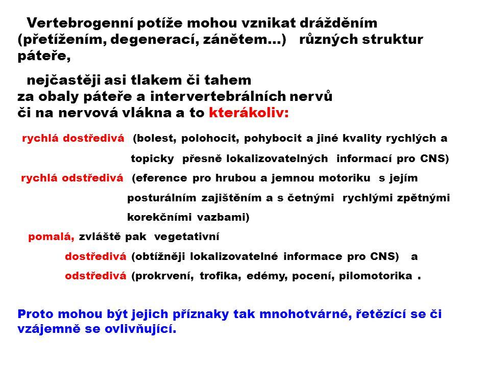 Vertebrogenní potíže mohou vznikat drážděním (přetížením, degenerací, zánětem…) různých struktur páteře,