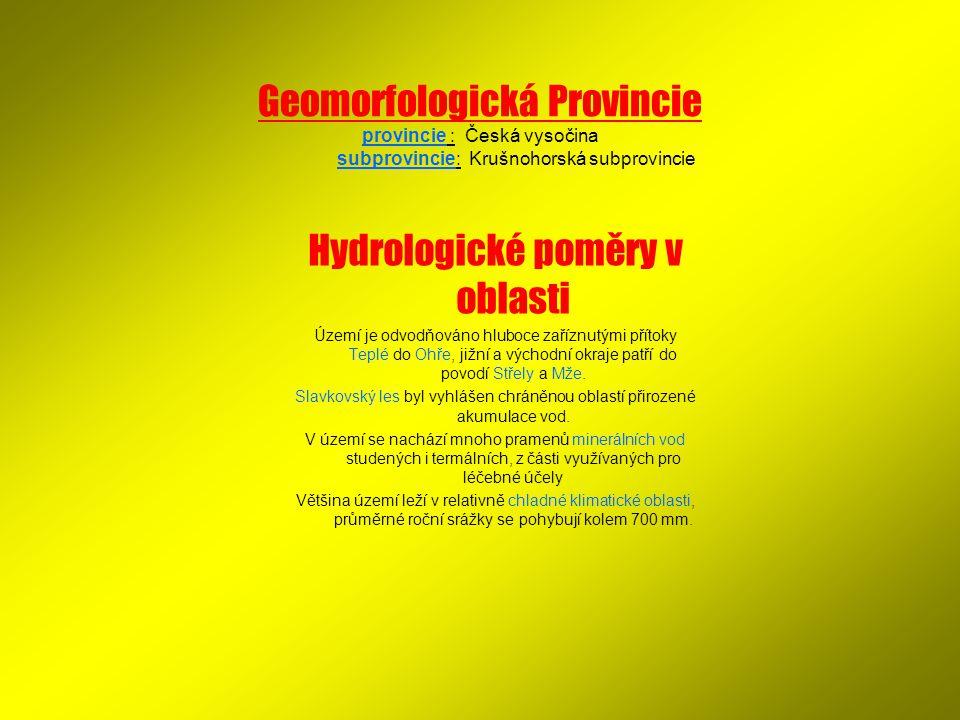 Hydrologické poměry v oblasti