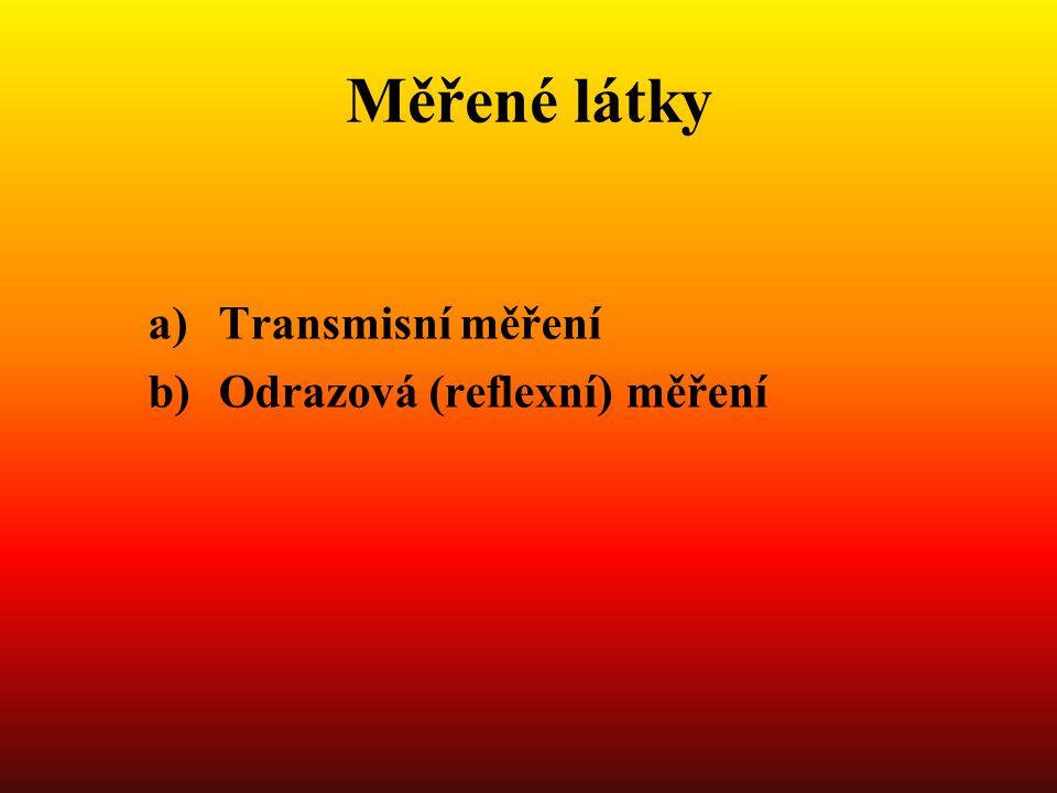 Měřené látky Transmisní měření Odrazová (reflexní) měření