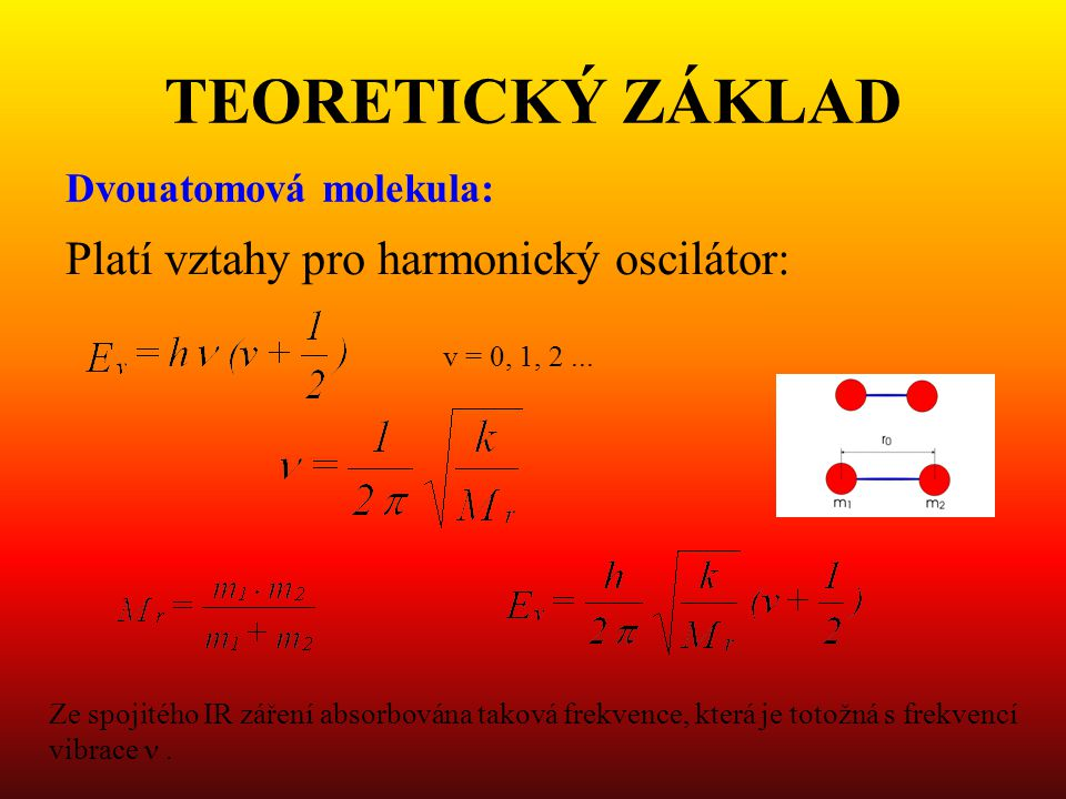 TEORETICKÝ ZÁKLAD Platí vztahy pro harmonický oscilátor:
