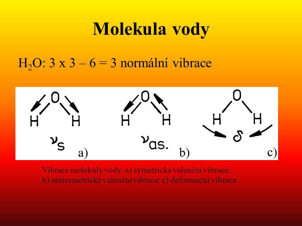 Molekula vody H2O: 3 x 3 – 6 = 3 normální vibrace