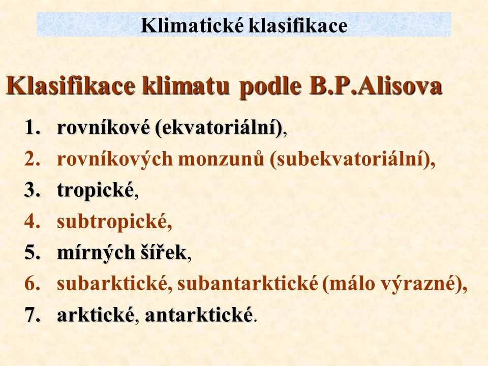 Klasifikace klimatu podle B.P.Alisova