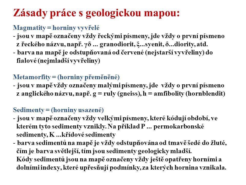 Zásady práce s geologickou mapou: