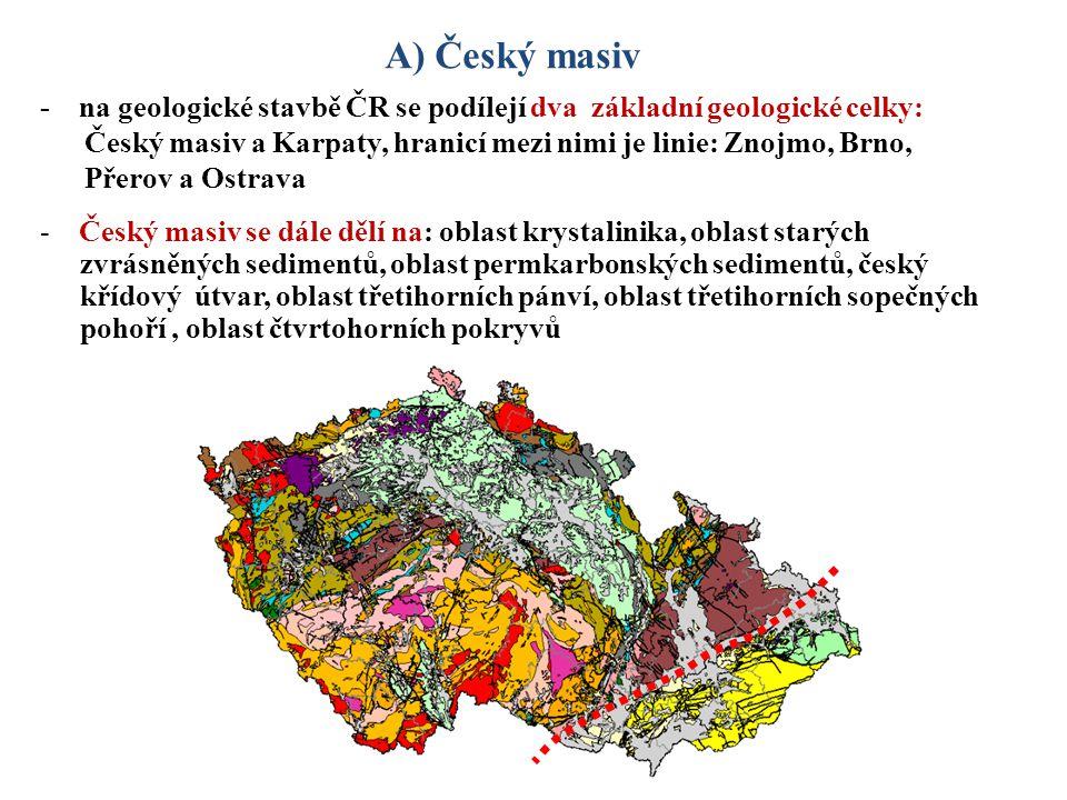 - na geologické stavbě ČR se podílejí dva základní geologické celky: