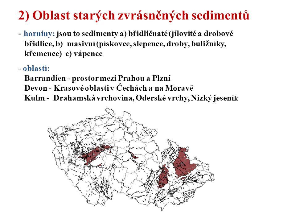 2) Oblast starých zvrásněných sedimentů