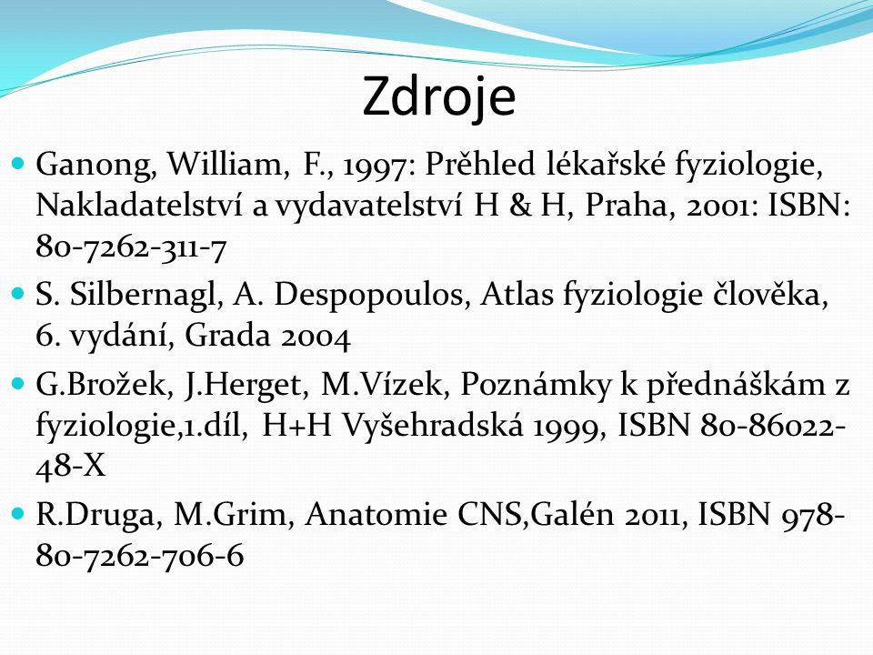 Zdroje Ganong, William, F., 1997: Prěhled lékařské fyziologie, Nakladatelství a vydavatelství H & H, Praha, 2001: ISBN: 80-7262-311-7.