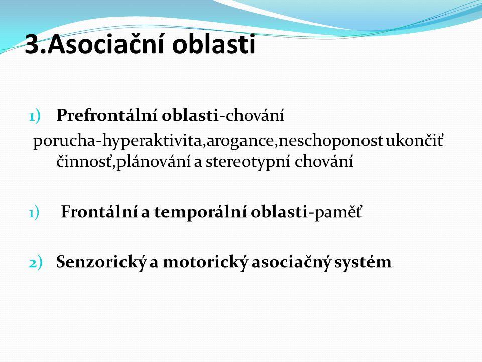 3.Asociační oblasti Prefrontální oblasti-chování