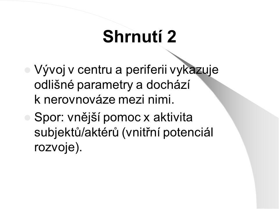 Shrnutí 2 Vývoj v centru a periferii vykazuje odlišné parametry a dochází k nerovnováze mezi nimi.