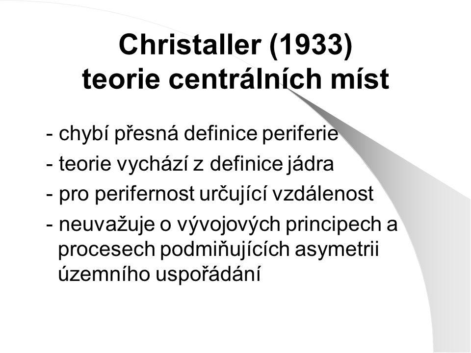 Christaller (1933) teorie centrálních míst