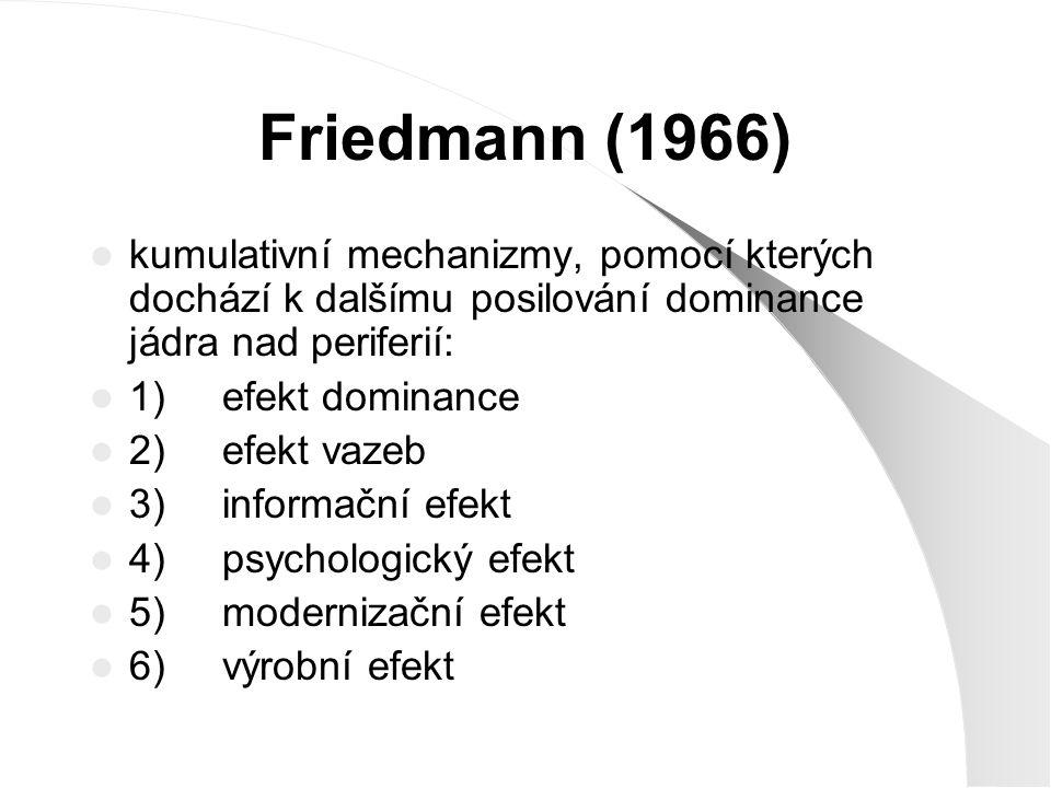 Friedmann (1966) kumulativní mechanizmy, pomocí kterých dochází k dalšímu posilování dominance jádra nad periferií: