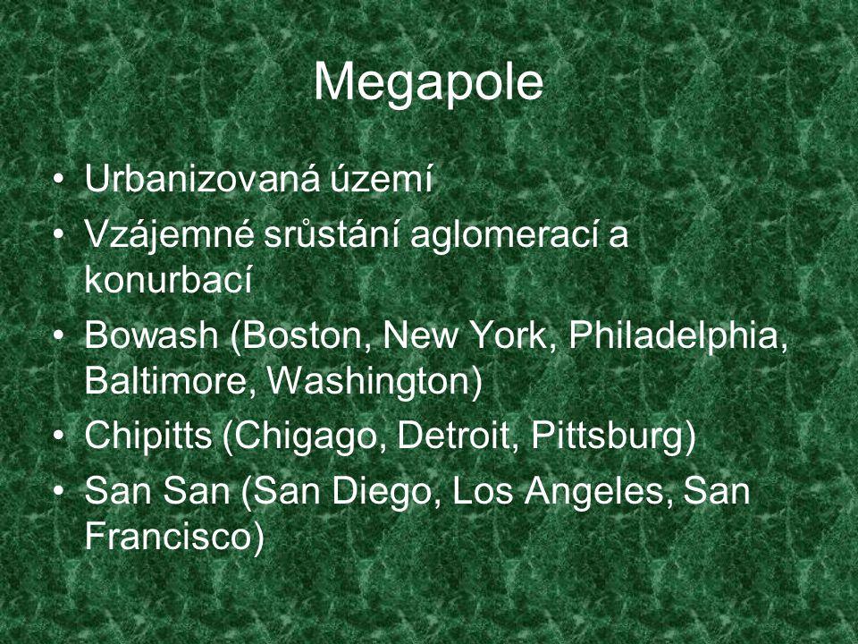 Megapole Urbanizovaná území Vzájemné srůstání aglomerací a konurbací