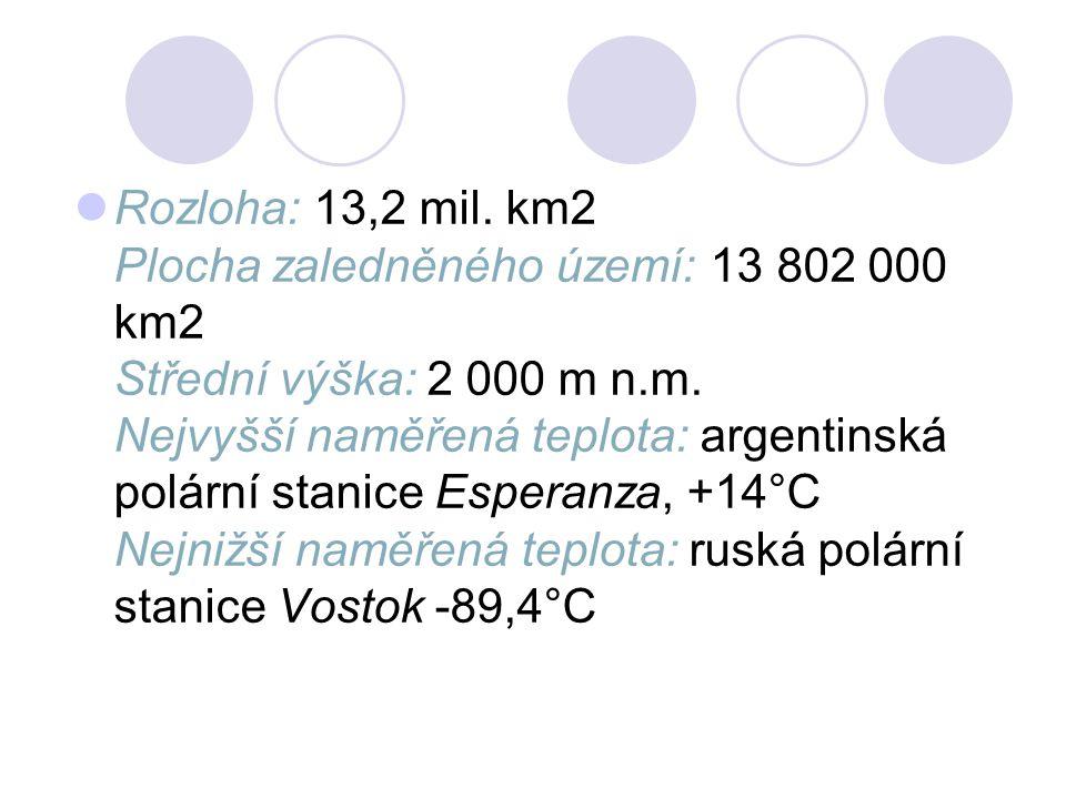 Rozloha: 13,2 mil. km2 Plocha zaledněného území: 13 802 000 km2 Střední výška: 2 000 m n.m.