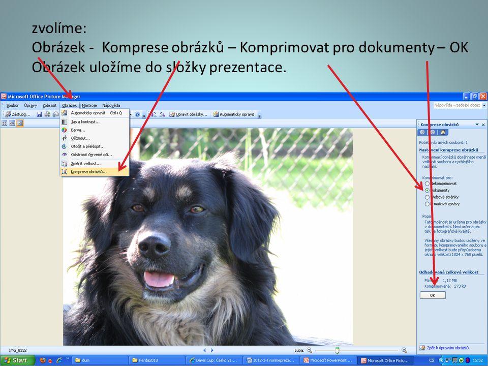 zvolíme: Obrázek - Komprese obrázků – Komprimovat pro dokumenty – OK.