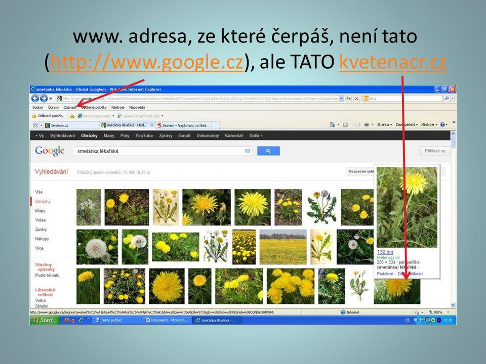www. adresa, ze které čerpáš, není tato (http://www. google