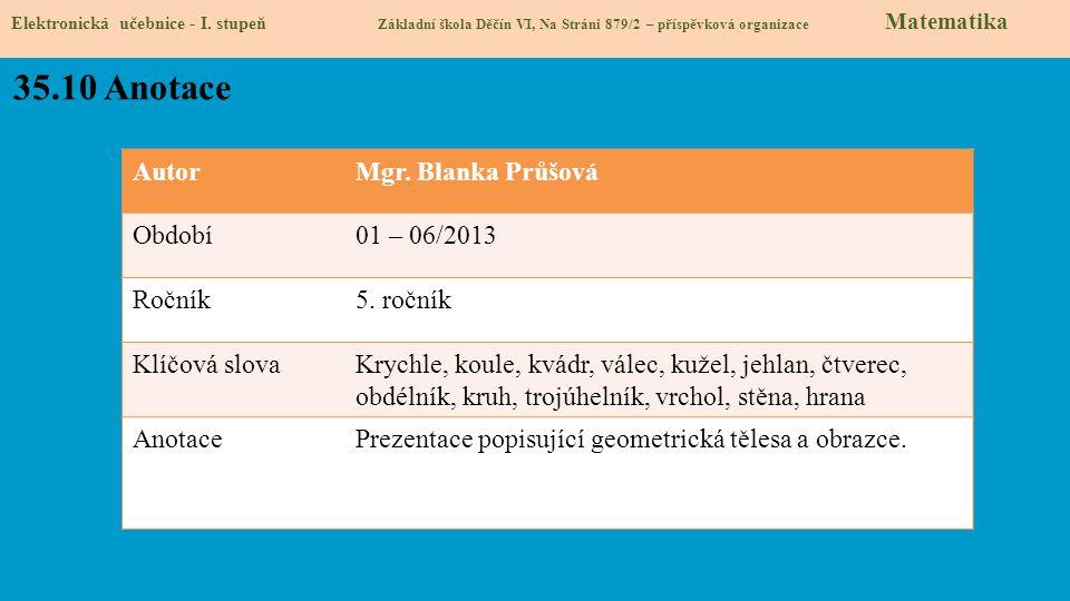35.10 Anotace Autor Mgr. Blanka Průšová Období 01 – 06/2013 Ročník