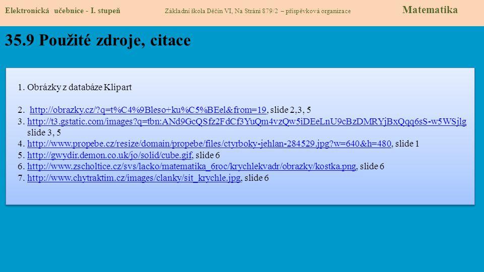 35.9 Použité zdroje, citace 1. Obrázky z databáze Klipart