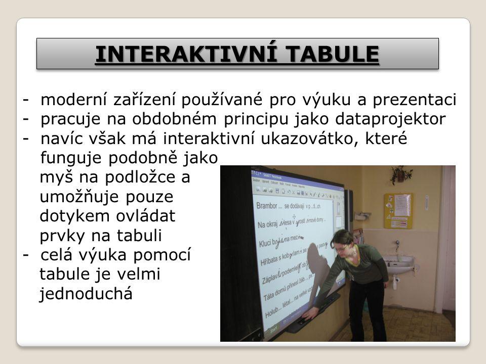 INTERAKTIVNÍ TABULE moderní zařízení používané pro výuku a prezentaci