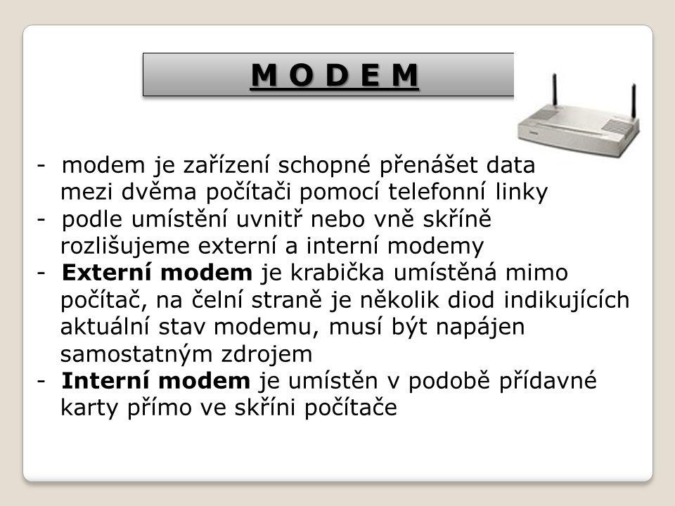 M O D E M modem je zařízení schopné přenášet data